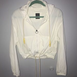 White windbreaker cropped jacket